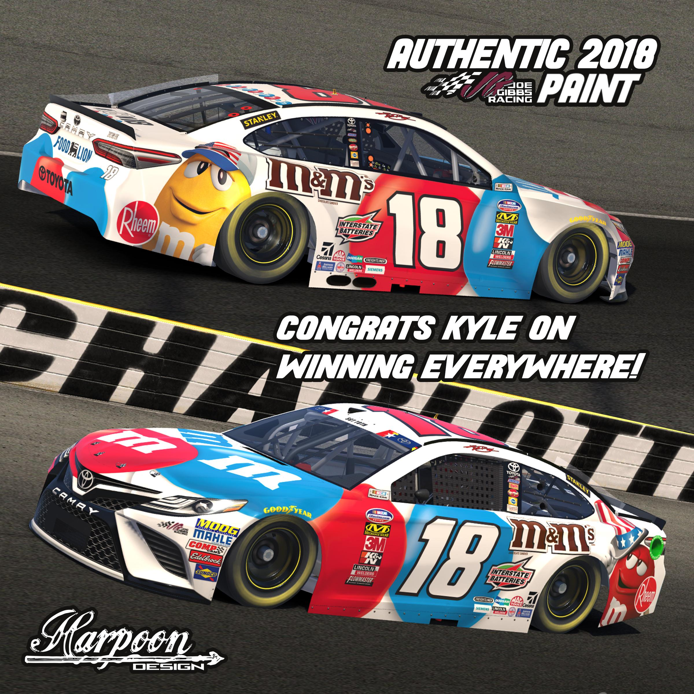 Preview of 2018 JGR Authentic Kyle Busch M&M RWB Camry by Brantley Roden