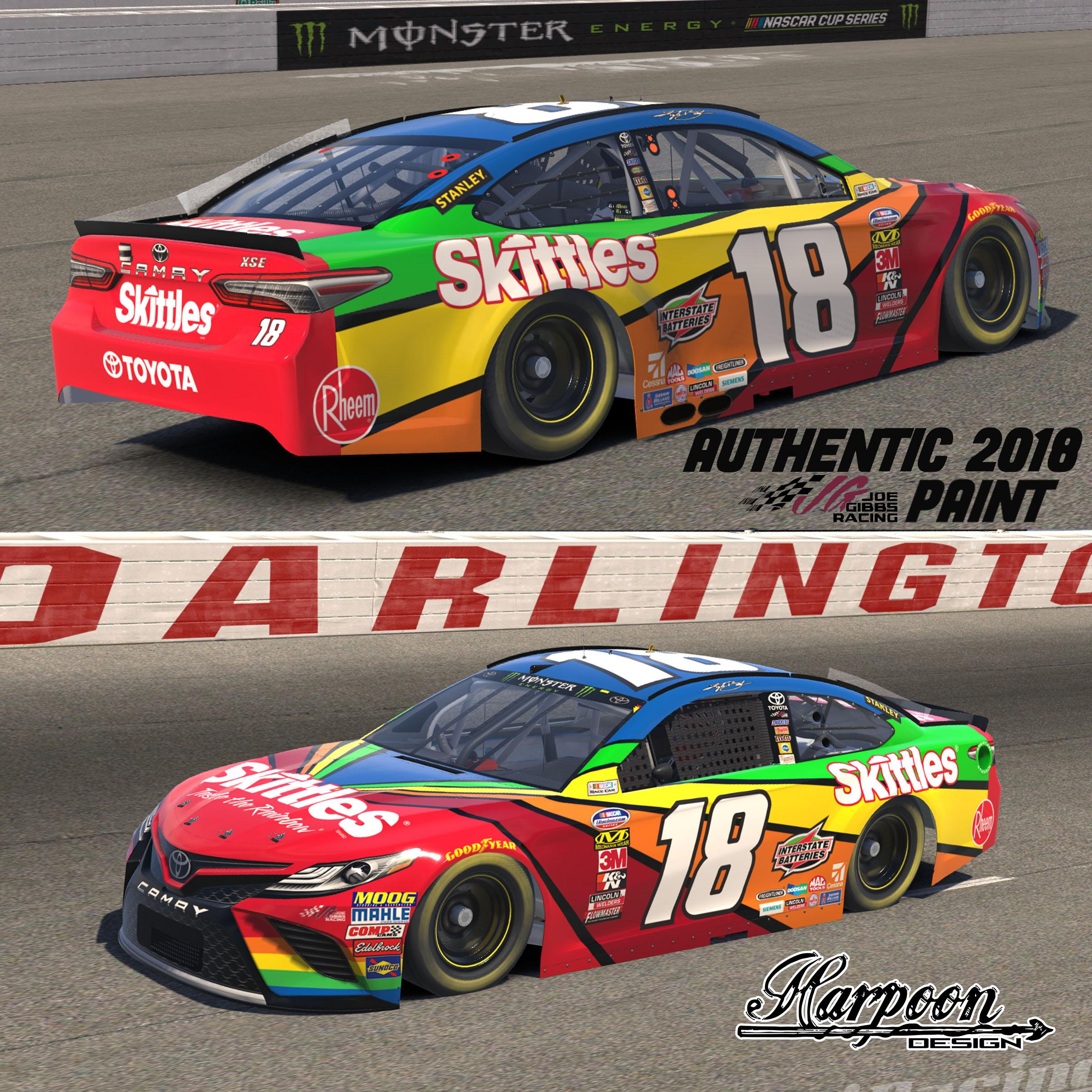 Preview of 2018 JGR Authentic Kyle Busch Skittles Throwback Camry by Brantley Roden