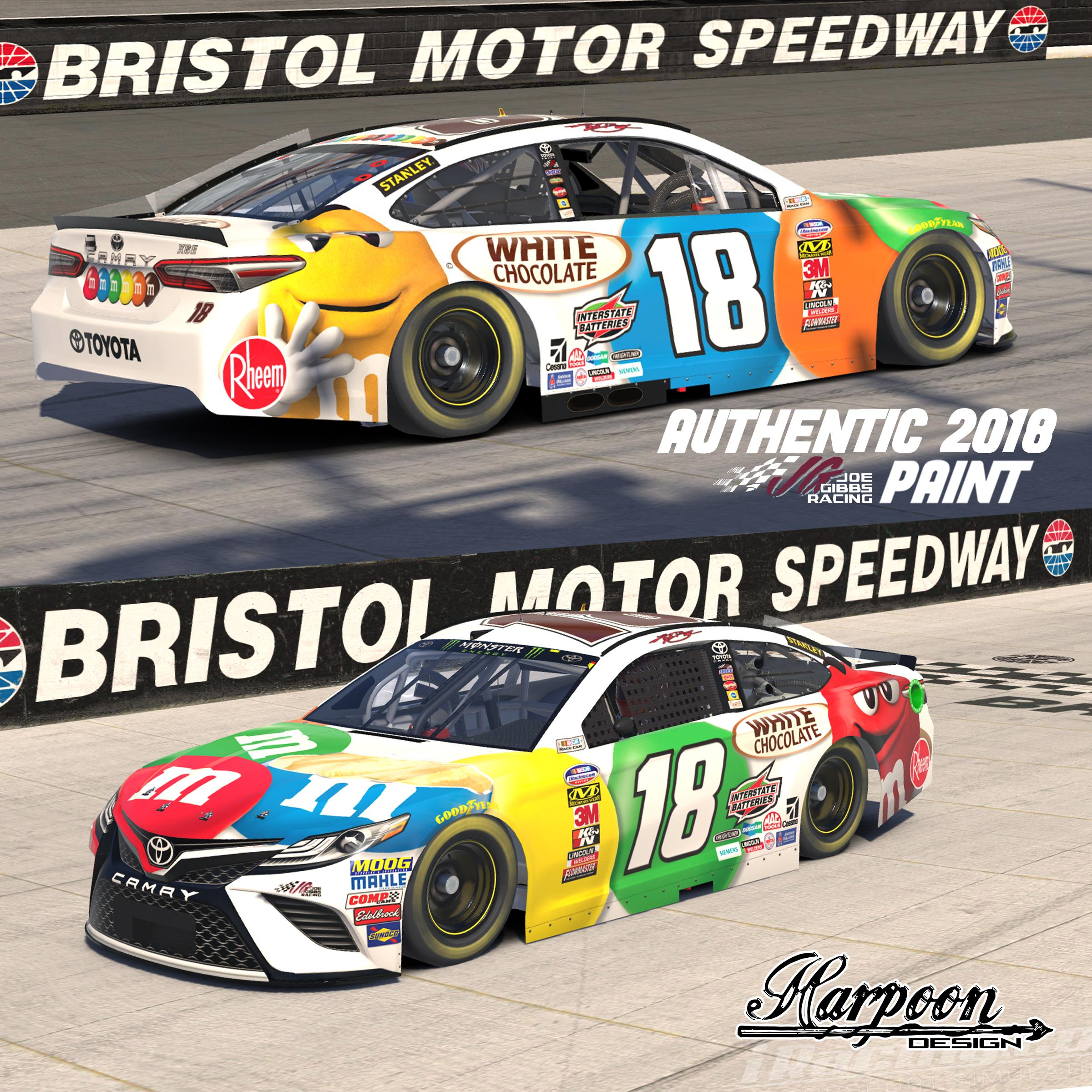 Preview of 2018 JGR Authentic Kyle Busch M&M White Chocolate Camry by Brantley Roden