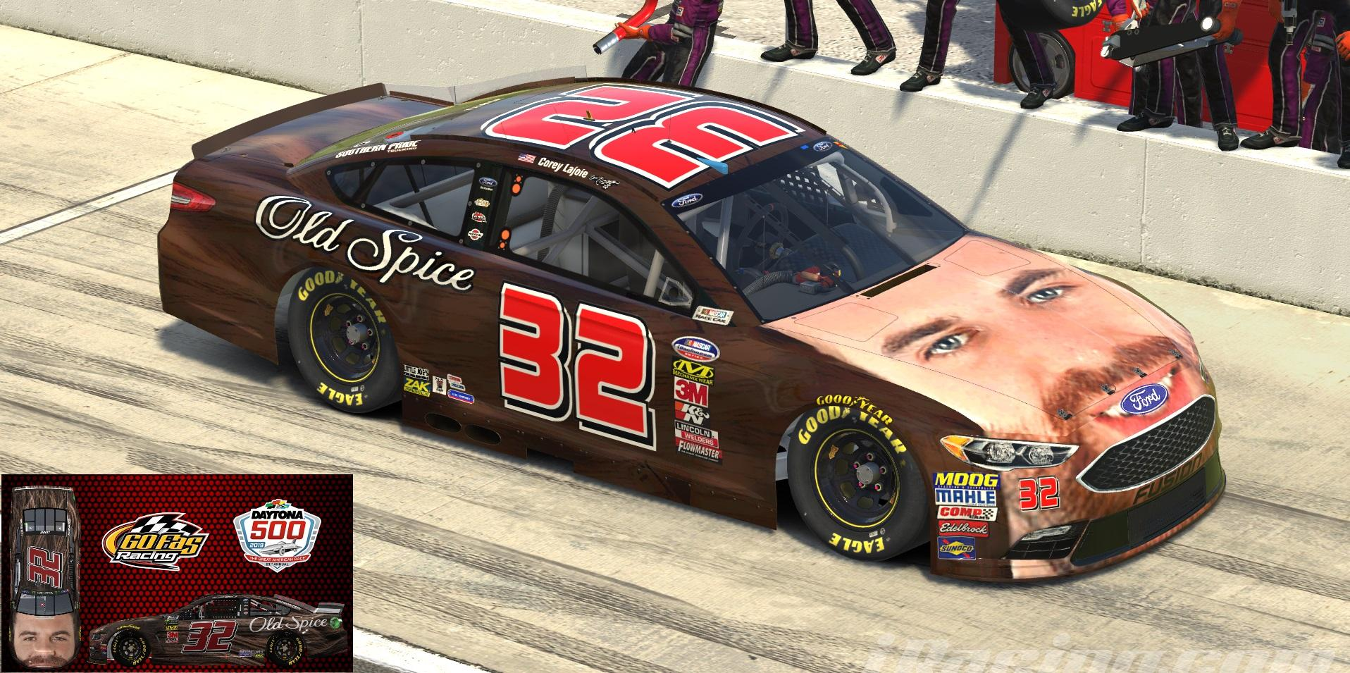Preview of 2019 #32 Corey Lajoie - Lajoies Face/Old Spice (Daytona 500) by Shawn Howell