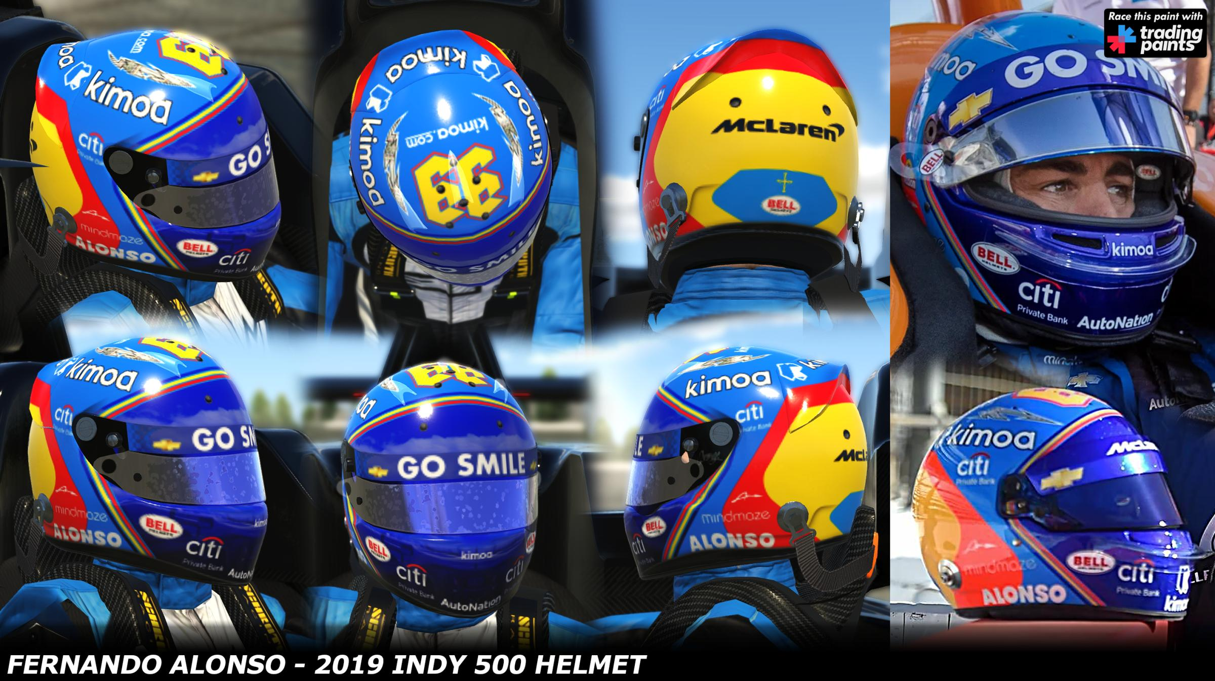 Preview of Fernando Alonso - Indy 500 2019 Helmet by George Simmons