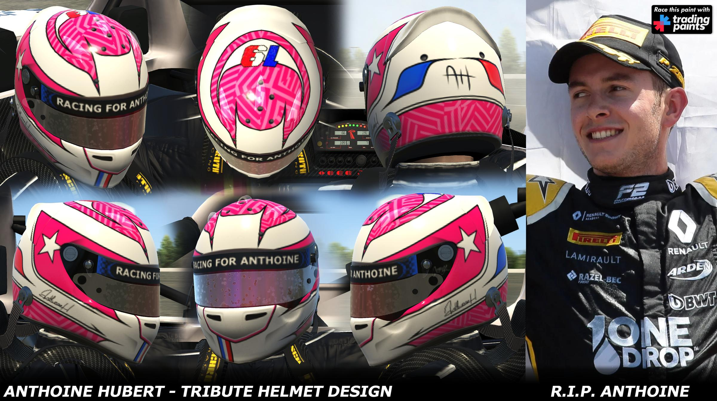 Preview of Anthoine Hubert - 2019 Tribute Helmet Design - R.I.P Anthoine by George Simmons