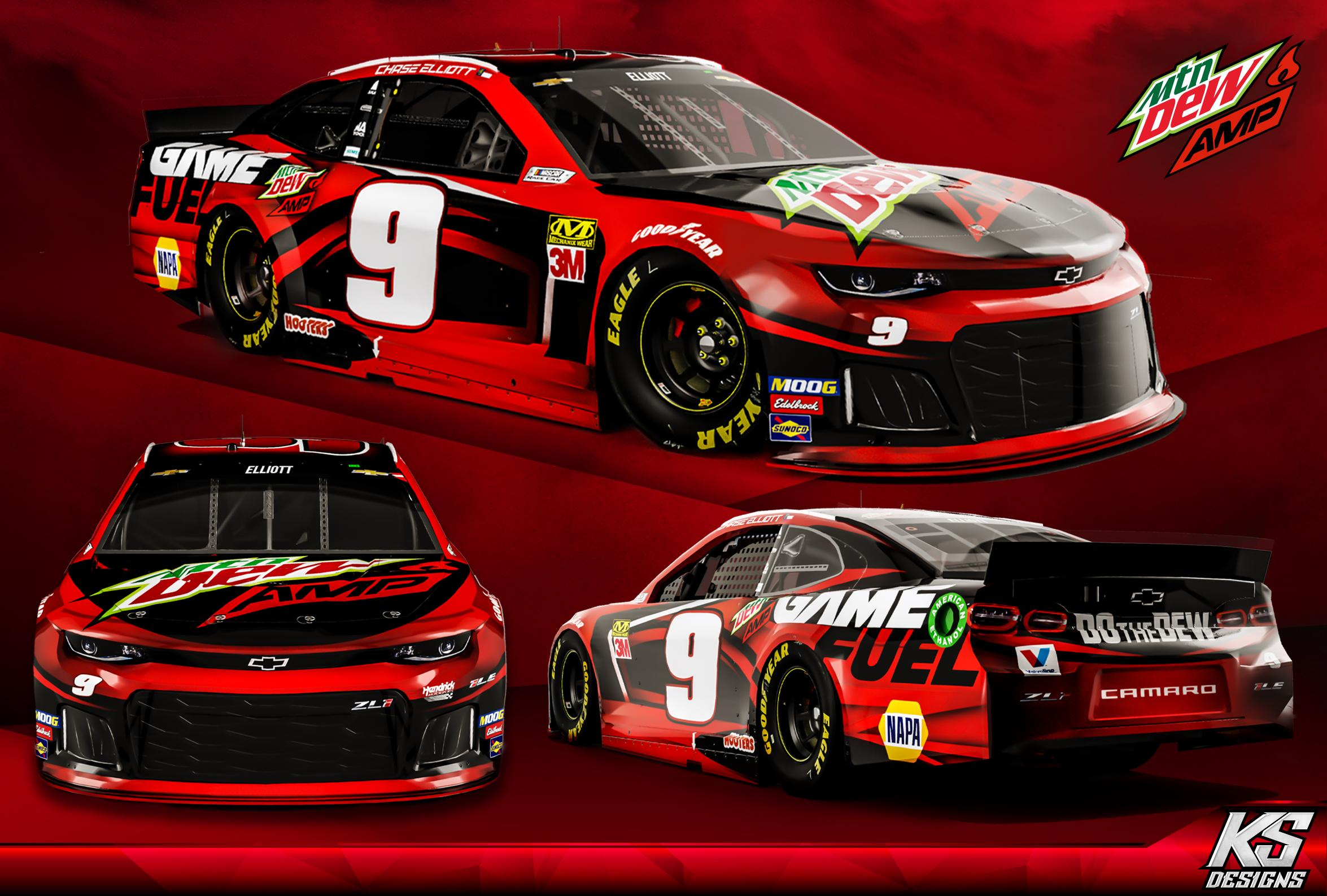 Preview of Chase Elliott Game Fuel | Mtn Dew Amp concept - Red  by Kyle Sykes