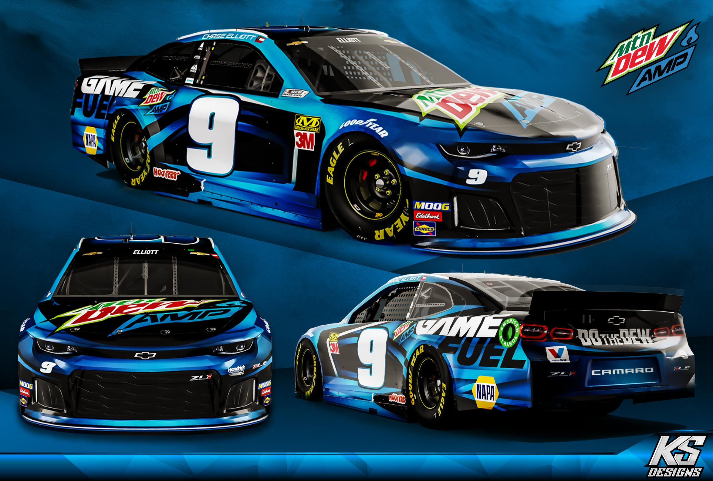 Preview of Chase Elliott Game Fuel | Mtn Dew Amp concept - Blue by Kyle Sykes