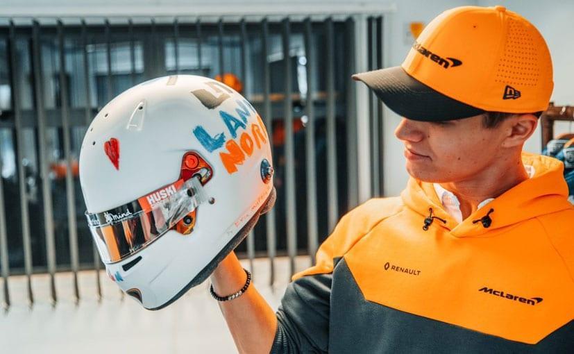 Preview of Lando Norri S Silverstone Helmet by Lewis Edwards