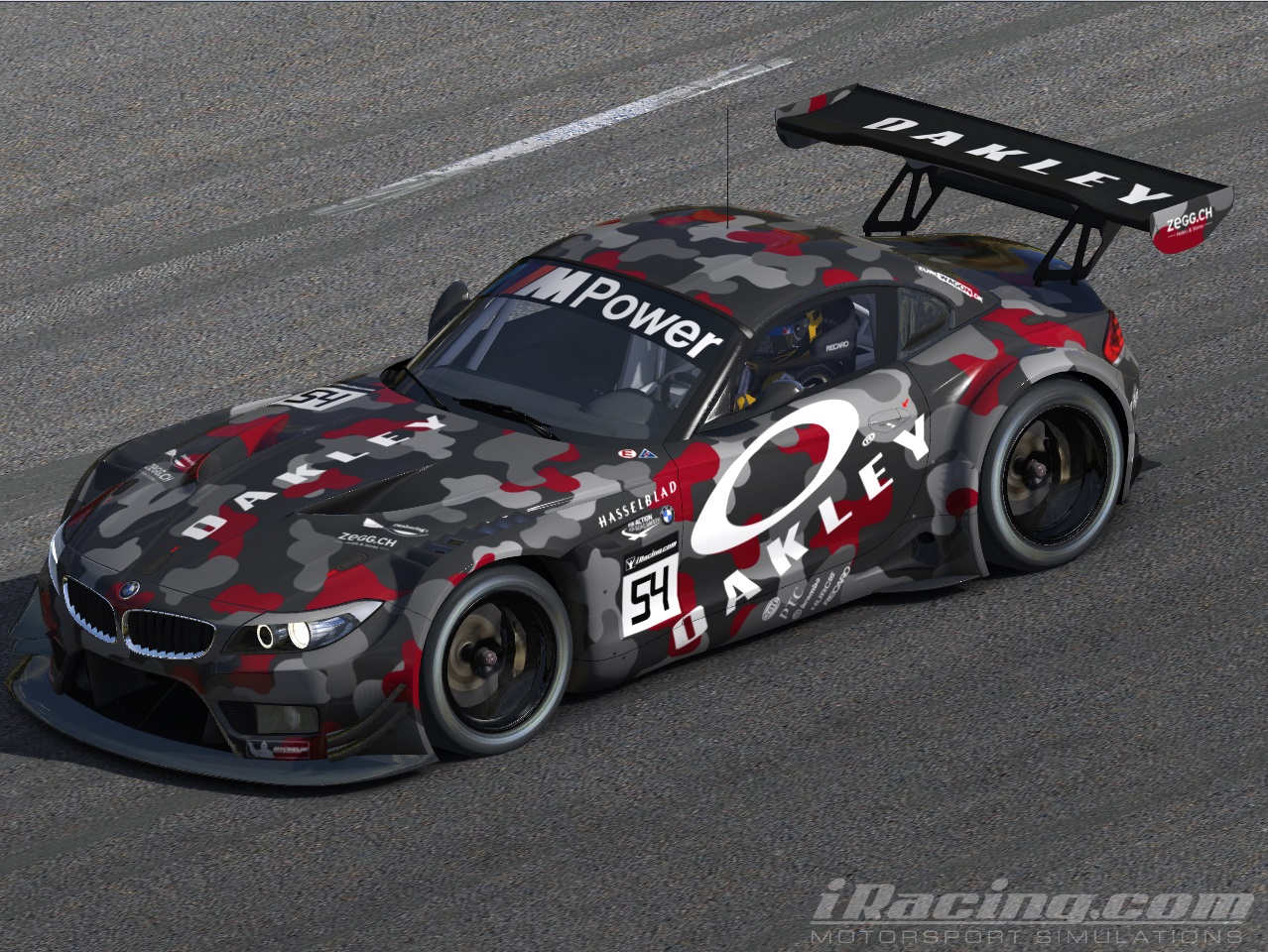 oakley camo attack bmw z4 gt3 by rachael w trading paints. Black Bedroom Furniture Sets. Home Design Ideas