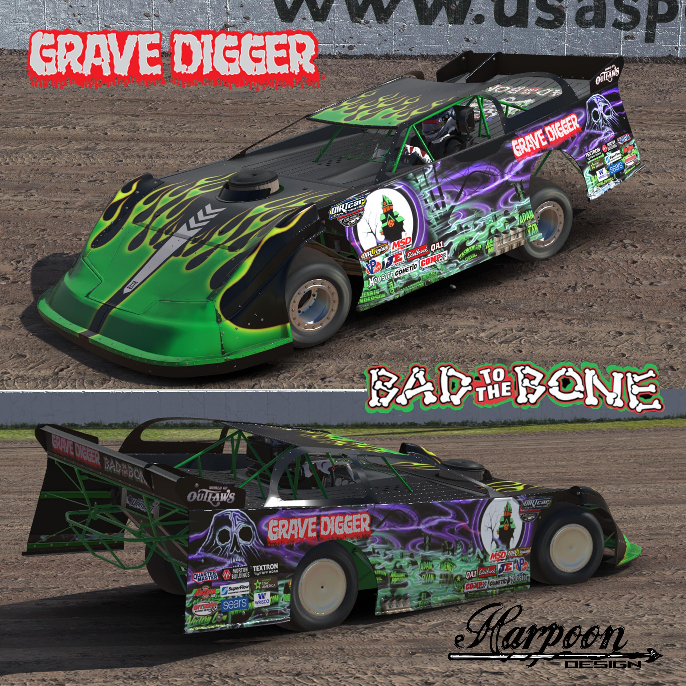Grave digger fantasy dirt late model by brantley roden for Dirt track race car paint schemes