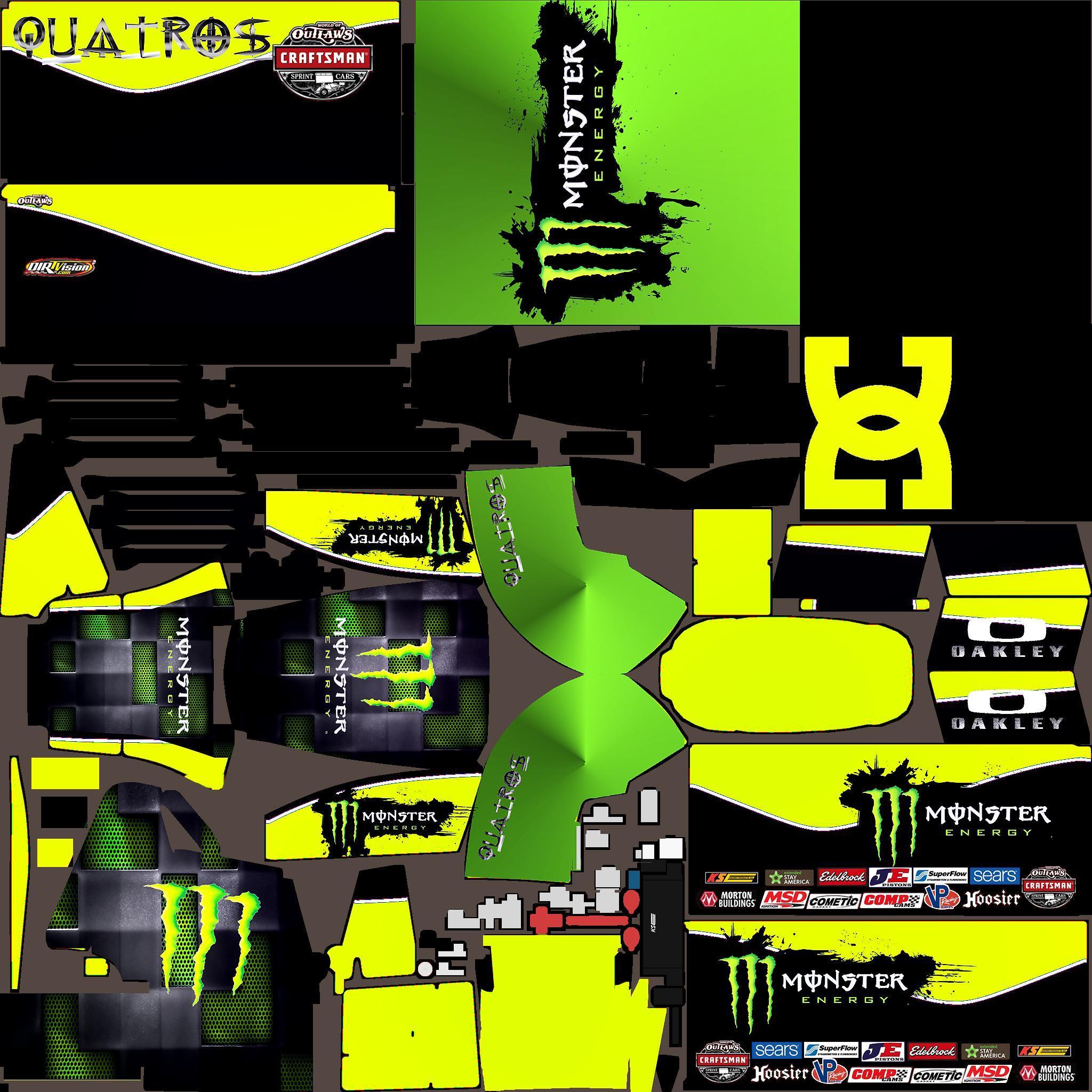 Monster energy dirt sprint car custom paint scheme by jose for Dirt track race car paint schemes