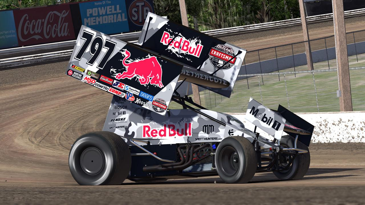 Mad mike red bull sprint car madbul by matthew for Dirt track race car paint schemes