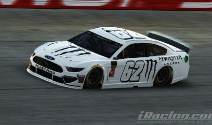 Fictional White Monster Energy Ford Mustang Cup Car