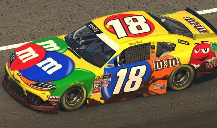 Kyle Busch M&Ms but without the number 18 plastered all over it so you can put your custom iracing stamped numbers there instead