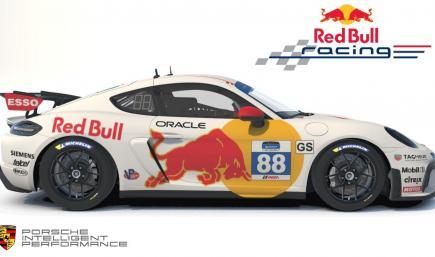 White RedBull Porsche Cayman GT4